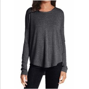 RVCA Long Sleeve Speckled Grey Open Back Shirt